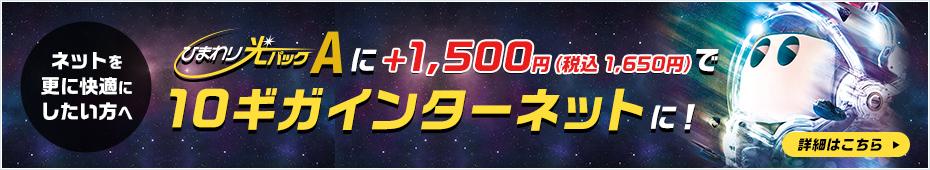 ネットを更に快適にしたい方へ ひまわり光パックAに+1,500円(税込1,650円)で10ギガインターネットに!